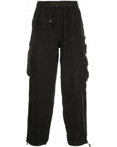 Lniane lniane spodnie - czarne Stussy