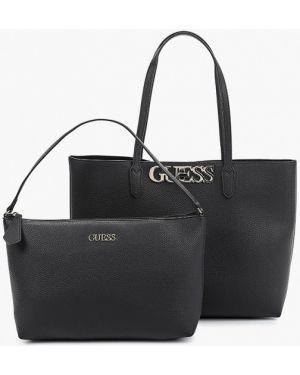 Кожаная сумка шоппер черная Guess