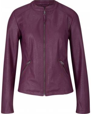 Приталенная фиолетовая кожаная куртка на молнии со вставками Bonprix