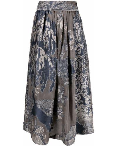 Серая шелковая юбка для полных Giorgio Armani