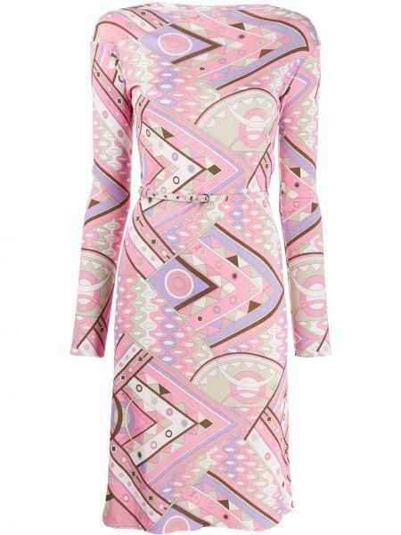 Платье с поясом розовое шелковое Emilio Pucci