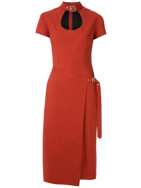 С рукавами красное платье миди с запахом Reinaldo Lourenço