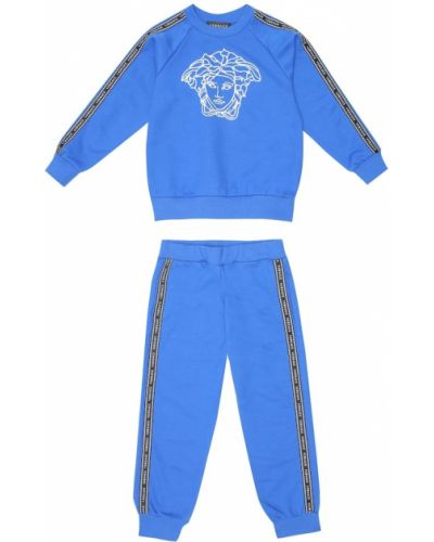 Niebieski bawełna bawełna dres z haftem Versace Kids