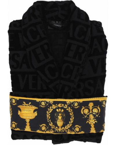 Czarny szlafrok bawełniany z paskiem Versace