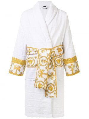 Biały szlafrok bawełniany z długimi rękawami Versace Home