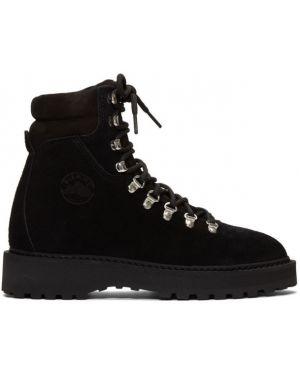 Черные сапоги без каблука на шнуровке с острым носом Diemme
