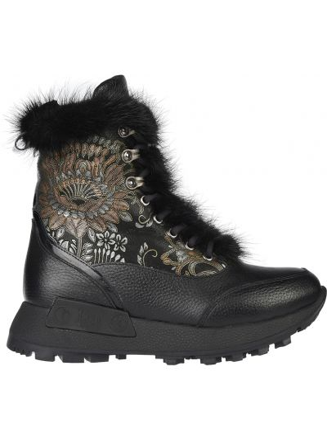 Кожаные ботинки - черные Lab-milano