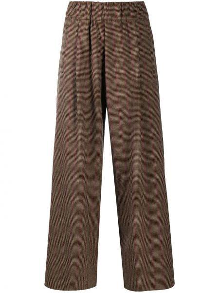 Свободные коричневые брюки свободного кроя с поясом Semicouture