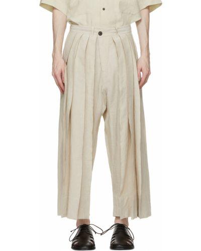 Beżowe spodnie z paskiem z jedwabiu Jan-jan Van Essche