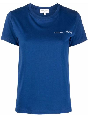 Прямая хлопковая синяя футболка Maison Labiche