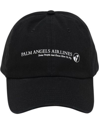 Bawełna bawełna czarny czapka z daszkiem z haftem Palm Angels