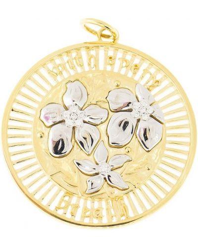 Z rombem żółty wisiorka ze złota przeoczenie z diamentem Foundrae