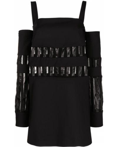 Кожаное открытое черное платье мини Just Cavalli