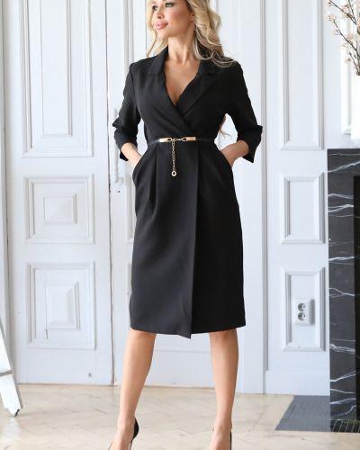 Черное платье с поясом Wisell
