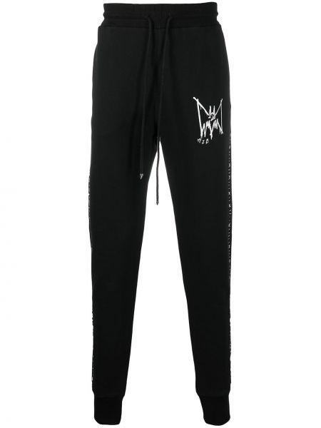 Czarne spodnie bawełniane z printem Mjb Marc Jacques Burton