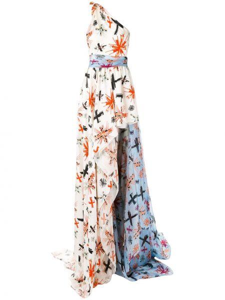 Белое расклешенное шелковое платье Fausto Puglisi