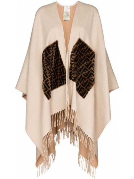 Кашемировое пончо с бахромой с карманами Fendi