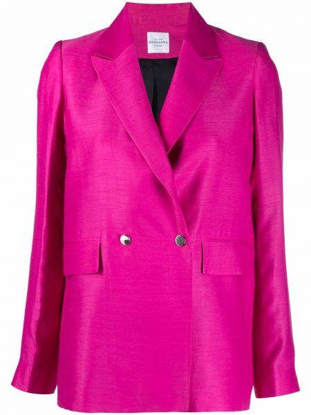 Розовый удлиненный пиджак двубортный с подкладкой Roseanna