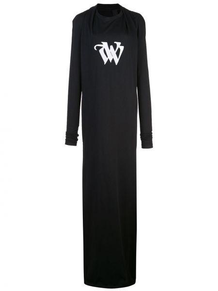 Шелковое с рукавами черное платье макси Vera Wang