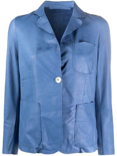 Синий кожаный пиджак с карманами Salvatore Santoro