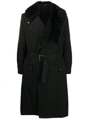 С рукавами черный тренчкот с поясом из вискозы Mr & Mrs Italy