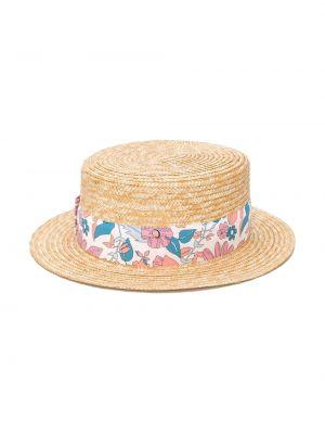 Beżowy kapelusz z printem z wiskozy Chloé Kids