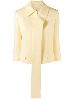 Шерстяной желтый классический пиджак с карманами Alexander Mcqueen