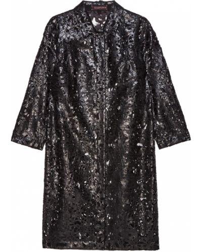 Черное пальто с воротником трапеция Chapurin