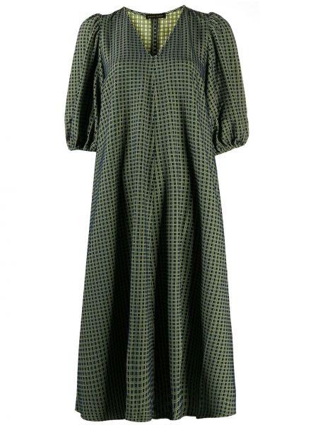 Зеленое платье с V-образным вырезом с сеткой с короткими рукавами Stine Goya