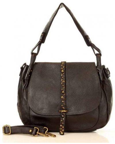 Czarna torba na ramię skórzana vintage Mazzini