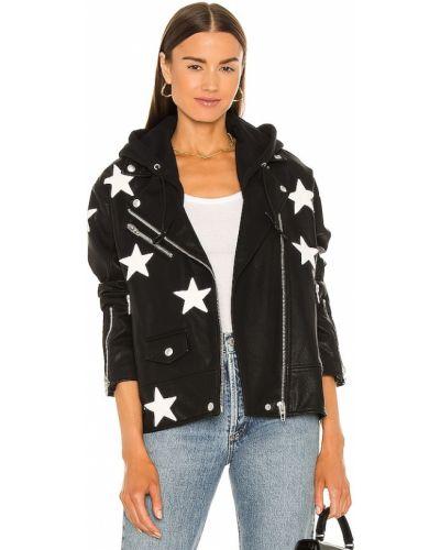 Кожаная куртка с капюшоном - черная [blanknyc]