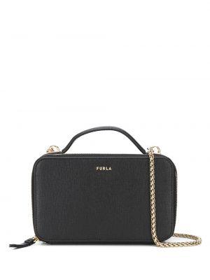 Черная сумка через плечо с перьями круглая из натуральной кожи Furla