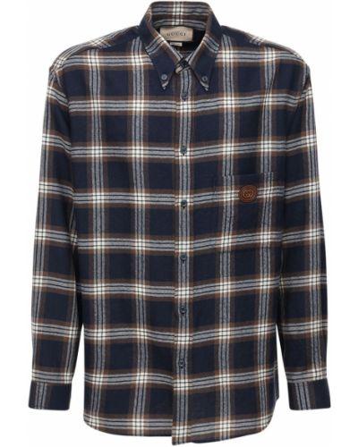 Niebieski koszula z mankietami z łatami z kieszeniami Gucci