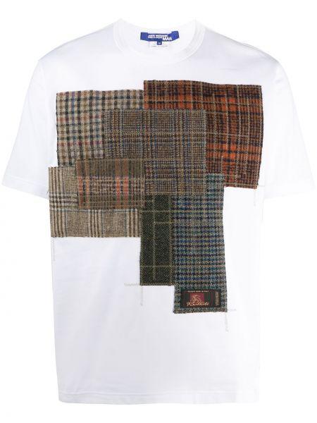 Шерстяная белая рубашка с короткими рукавами пэчворк круглая Junya Watanabe Man