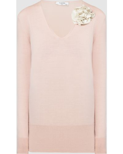 Светло-розовый шерстяной пуловер Lanvin