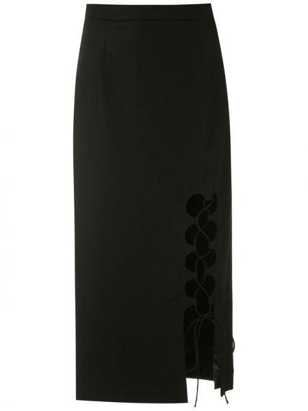 Черная с завышенной талией юбка мини с разрезом на молнии Reinaldo Lourenço