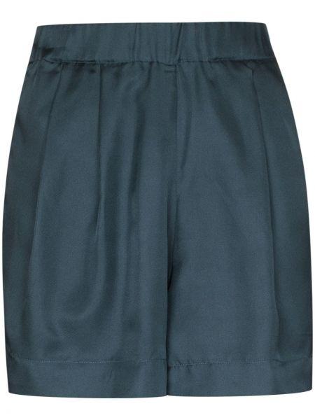Синие шелковые шорты с карманами на шпильке Asceno