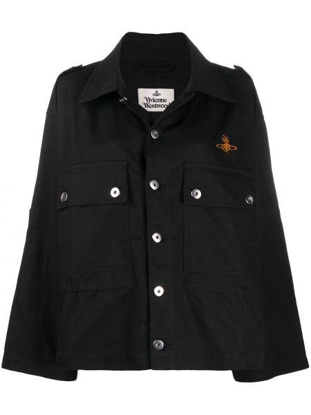 Хлопковая черная джинсовая куртка с воротником Vivienne Westwood Anglomania