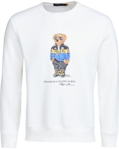 Biały pulower z długimi rękawami bawełniany Polo Ralph Lauren