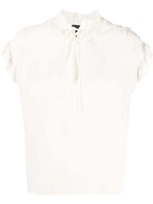 Шелковая белая блузка с короткими рукавами Pinko