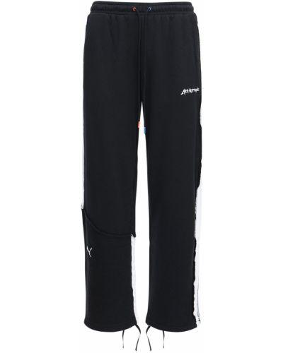 Czarne joggery z haftem bawełniane Puma Select