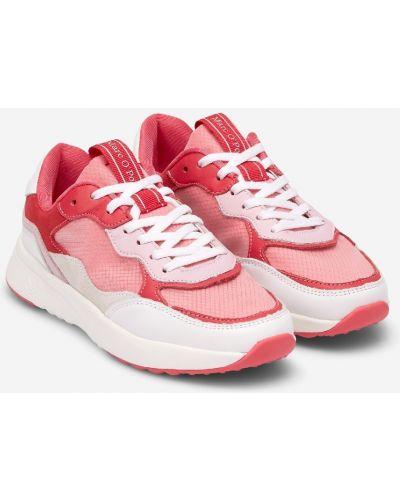 Повседневные розовые кожаные кроссовки со вставками на шнурках Marc O`polo