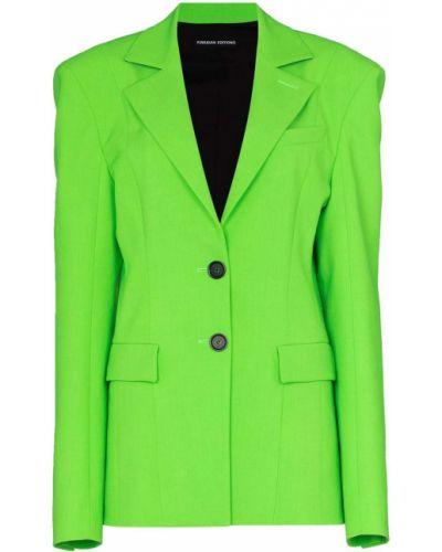 Зеленый однобортный пиджак с карманами Kwaidan Editions