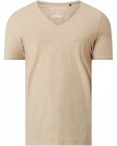 Beżowy t-shirt bawełniany z dekoltem w serek Mcneal
