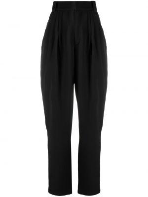 Зауженные шерстяные черные брюки Alessandra Rich