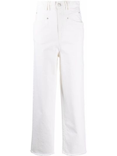 Z wysokim stanem bawełna jeansy na wysokości z kieszeniami z łatami Isabel Marant
