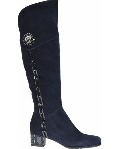 Ботфорты на каблуке кожаные замшевые Accademia