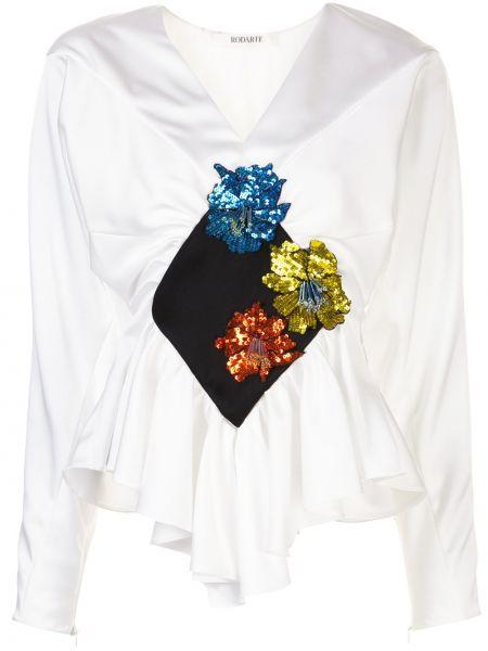 Bluzka z długimi rękawami z falbanami z dekoltem w serek Rodarte