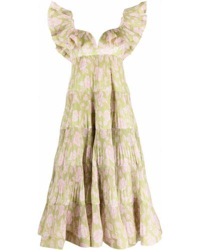 Зеленое платье без рукавов с оборками Zimmermann