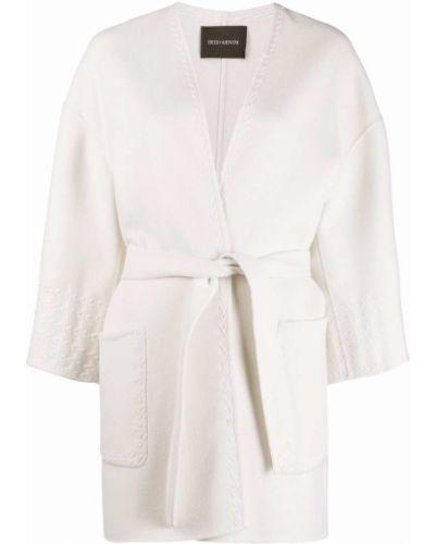 Белое шерстяное пальто с поясом Iris Von Arnim